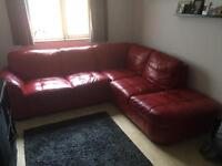 Red Leather L shape sofa