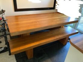Solid Hardwood Dining Table With Two Benches