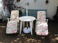 Garden Furniture Set - 2 Recliners, a Chair, Table and Parasol