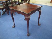 Edwardian mahogany square top occasional table raised on cabriole legs