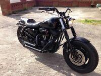 Harley 883 Bobber Chopper - Wide Yolks - Rough Crafts Cleaner - Stealth Black Look - Px Bike Boat