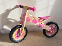 Wooden TIDLO Balance Bike (Pink/Floral)