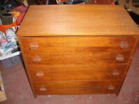 Vintage Retro Stag Teak 4 drawer chest of drawers