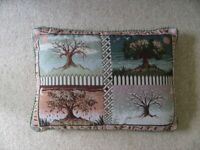"""Scatter cushion """"Change of Seasons"""" with four embroidered pictures"""
