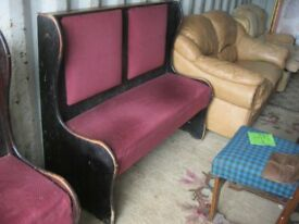 VINTAGE ORNATE PEW - SETTLE.SHAPED SIDES,UPHOLSTERED BENCH SEAT & BACK PADS. VIEWING/DELIVERY POSS