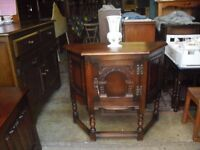 Lovely Genuine Old Charm Oak Canted Cabinet Small Sideboard