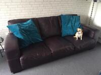 3 seater Leather Sofa with two armchairs - Mulberry colour