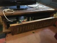 Solid wood TV stand and storage area