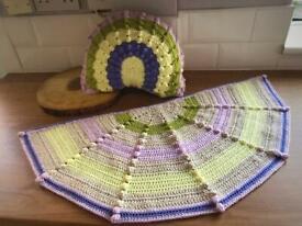 Crochet Rug - Cushion - Handmade Raimbow colors - Modern Rug