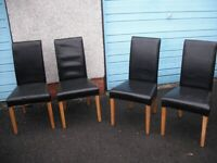 4 Leather an Hardwood Dining Chairs