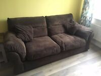 Brown cord 2 seater and 3 seated sofas. Excellent condition. Super comfy.