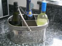Retro Metal Chrome 6 Bottle Wine Champagne Prosecco Crate Holder Carrier Bucket
