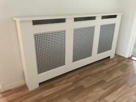 Large radiator cover modern white and silver 171cm wide