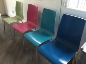 Set of 4 multi coloured dining chairs - NOW SOLD