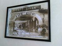 Framed, Glazed print of old French cafe / arcade photo