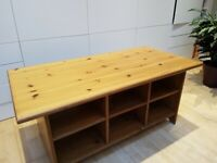 coffee table solid pine with shelves