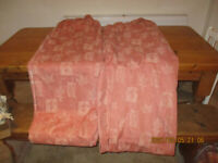 Two good quality curtains, lined and pleated 275cm long
