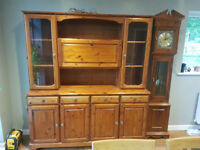 Pine sideboard with display cabinet