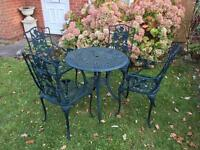 Vintage Style cast metal garden patio table & chairs with possible delivery