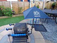 Preston X3 fishing seat box, plus accessories