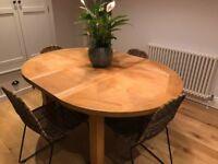 Clovelly Solid Oak Extending Dining Table 110cm diameter (150cm in length when extended)