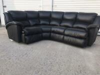 Black leather corner sofa immaculate. Free local delivery
