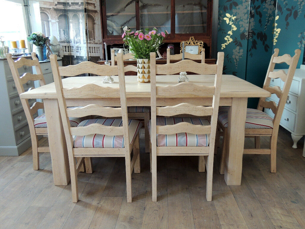 Lovely Rustic Farmhouse Style Dining Table With Six Upholstered Chairs