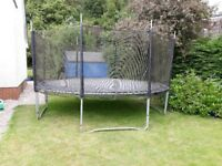 Large trampoline 4 meter diameter with netting 2.4m high from ground. Free if you can take away.