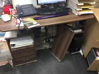 Brown Office desk table with drawers shelves keyboard