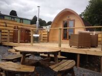 Galloway Lodge Pod with decking so you can enjoy stargazing in the wood burning two person hot tub