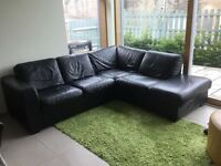 Quality Black Leather Corner Sofa