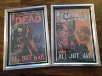Framed Comics, some signed - walking dead etc