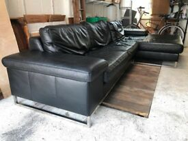 Italian buffalo leather large modernist style sofa with daybed