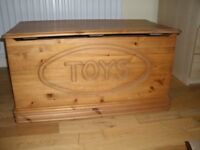 Solid oak toy chest / toy storage box