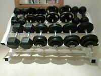 Dumbbells and weight rack