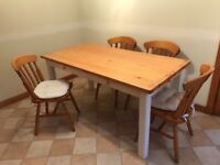 Farmhouse style table with four chairs £45