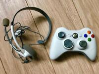 Xbox 360 wireless controller with battery pack & headset