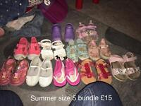 Girls size 5 summer shoe bundle