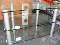 GLASS CORNER TV STAND.