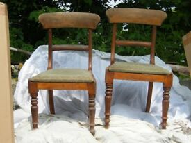 2 Pine Edwardian dining chairs in need of full restoration
