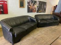 REAL BLACK LEATHER SOFA SET IN NICE CONDITION 3+3 seater