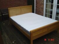 Oak Framed Double Bed with a Clean Mattress if Required. Can Deliver.