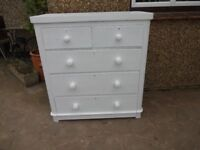 LARGE VICTORIAN CHEST OF DRAWERS --5 DRAWER ---PAINTED FARROW + BALL WHITE PAINT --