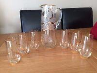 Vintage Glass Jug and Glasses Set