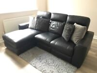 World of Leather Black Recliner Corner Chaise Sofa