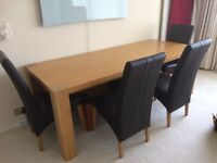 Oak (veneer) Dining Table & 6 Leatherette Chairs