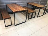 Wooden Table and long stool for Restaurant or Home or Garden