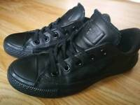 Black leather converse 3.5UK 36EU
