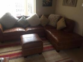Antique style dfs Corner settee & two seater & storage pouffe