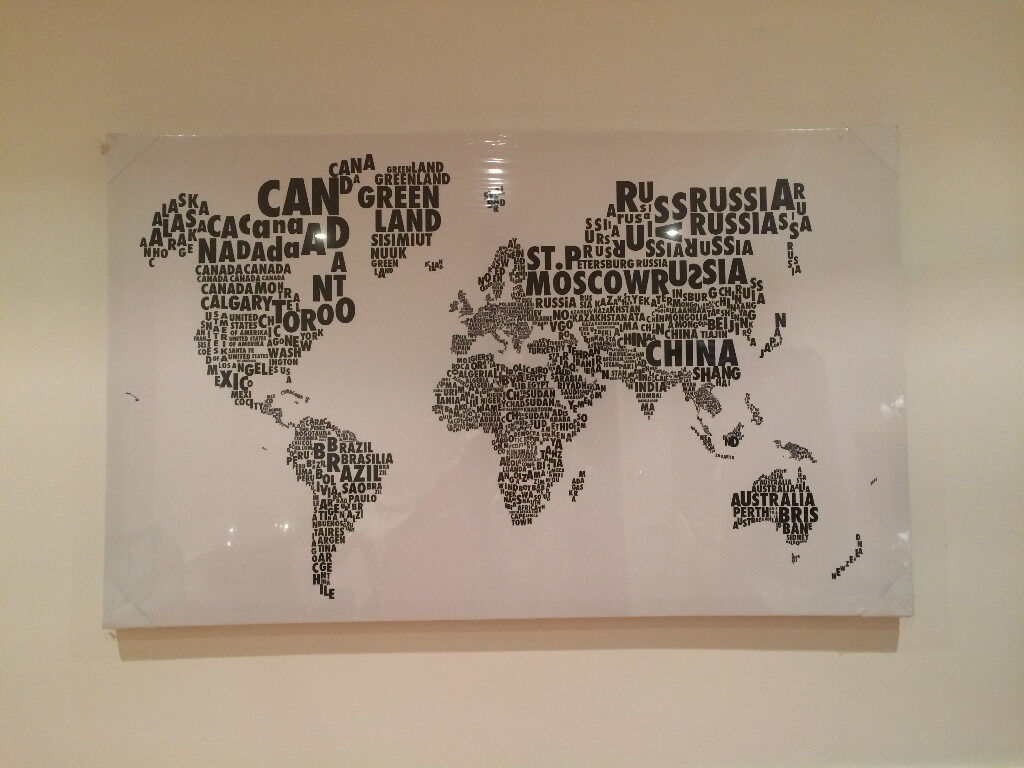 Print on canvas world map in words in st albans hertfordshire print on canvas world map in words gumiabroncs Image collections